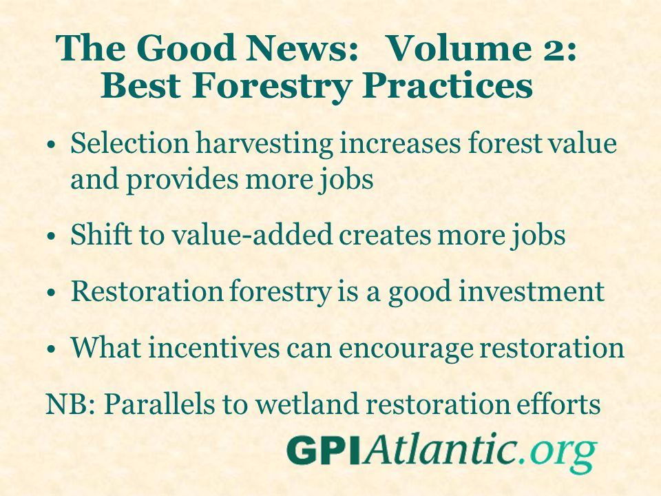 The Good News: Volume 2: Best Forestry Practices Selection harvesting increases forest value and provides more jobs Shift to value-added creates more jobs Restoration forestry is a good investment What incentives can encourage restoration NB: Parallels to wetland restoration efforts