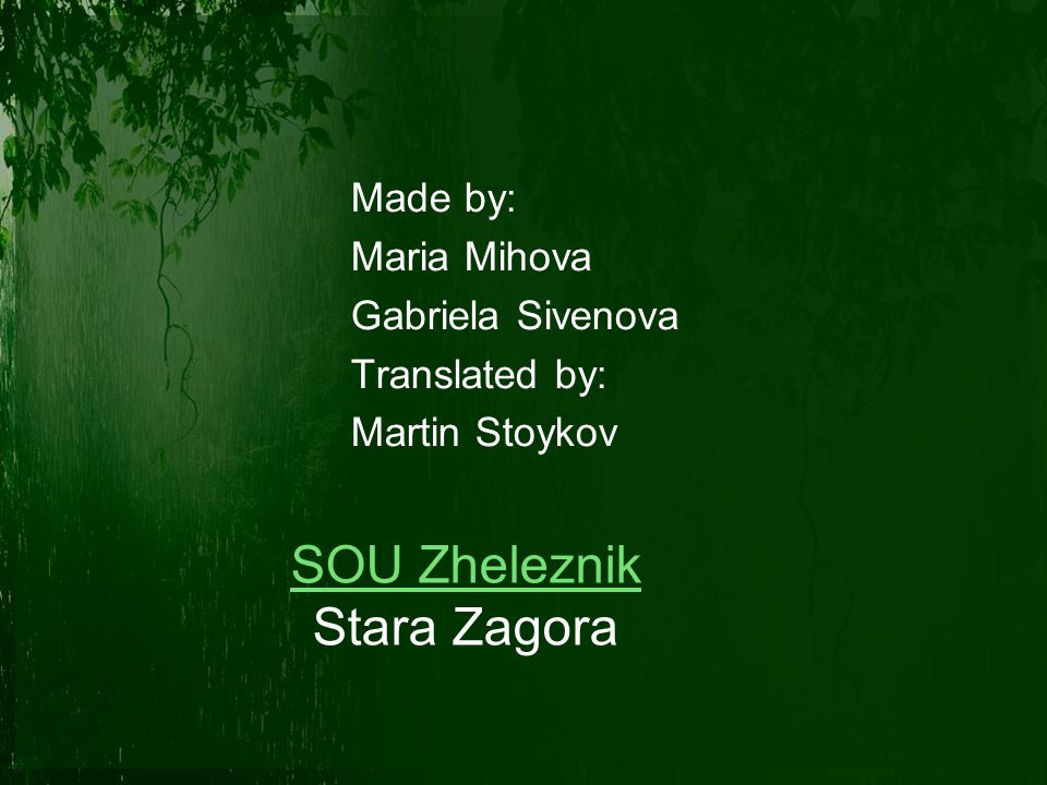 Made by: Maria Mihova Gabriela Sivenova Translated by: Martin Stoykov SOU Zheleznik Stara Zagora