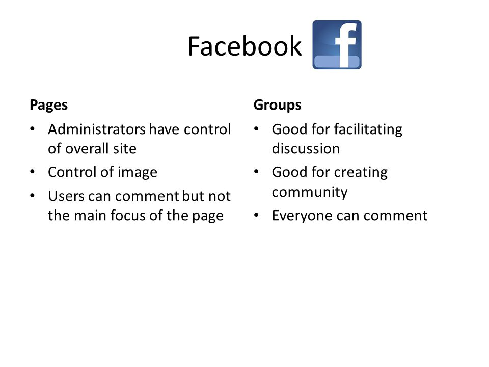 Facebook Pages Administrators have control of overall site Control of image Users can comment but not the main focus of the page Groups Good for facilitating discussion Good for creating community Everyone can comment