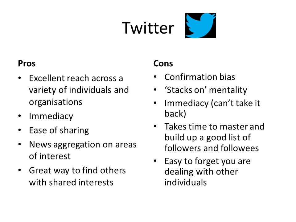 Twitter Pros Excellent reach across a variety of individuals and organisations Immediacy Ease of sharing News aggregation on areas of interest Great way to find others with shared interests Cons Confirmation bias 'Stacks on' mentality Immediacy (can't take it back) Takes time to master and build up a good list of followers and followees Easy to forget you are dealing with other individuals