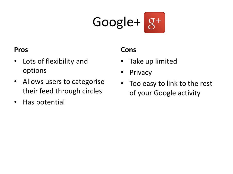 Google+ Pros Lots of flexibility and options Allows users to categorise their feed through circles Has potential Cons Take up limited Privacy Too easy to link to the rest of your Google activity