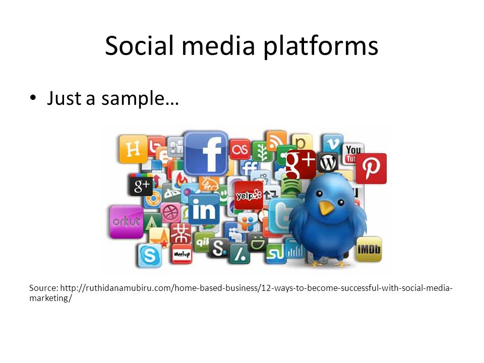 Social media platforms Just a sample… Source: http://ruthidanamubiru.com/home-based-business/12-ways-to-become-successful-with-social-media- marketing/