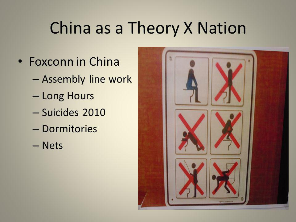 China as a Theory X Nation Foxconn in China – Assembly line work – Long Hours – Suicides 2010 – Dormitories – Nets