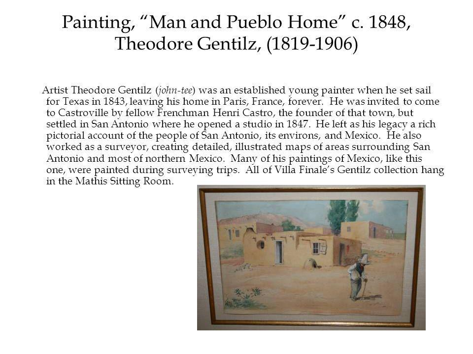Painting, Man and Pueblo Home c.