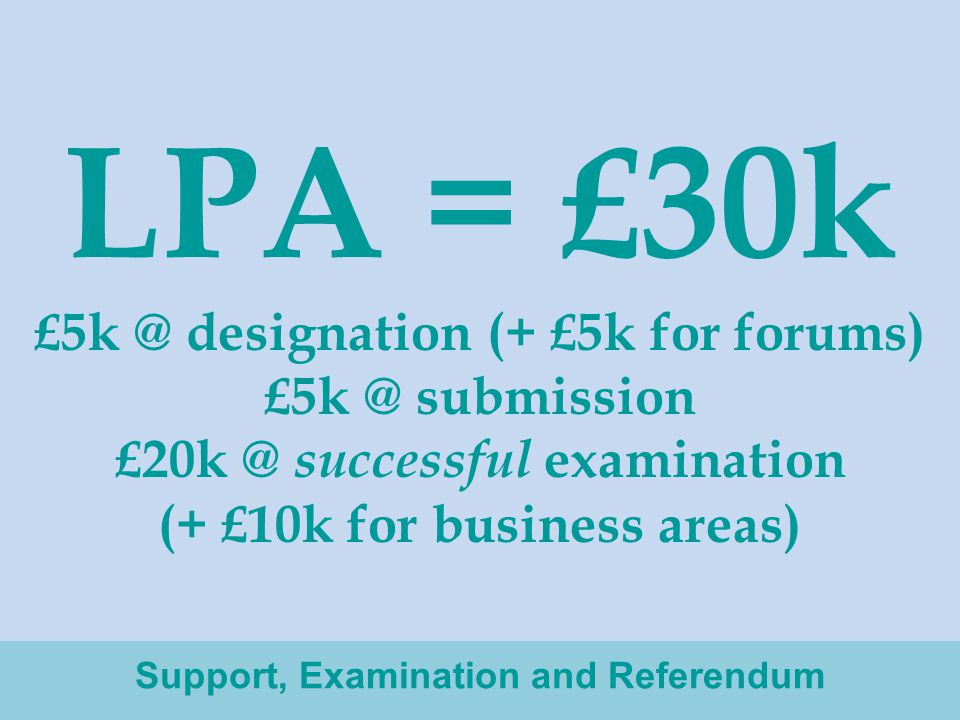 LPA = £30k £5k @ designation (+ £5k for forums) £5k @ submission £20k @ successful examination (+ £10k for business areas) Support, Examination and Referendum