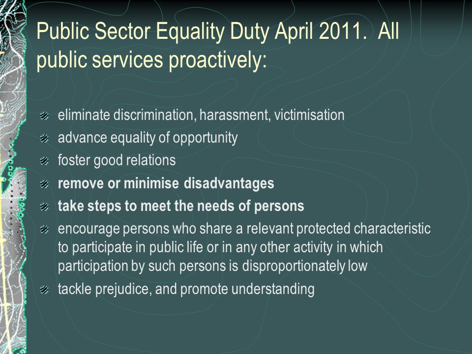 Public Sector Equality Duty April 2011.