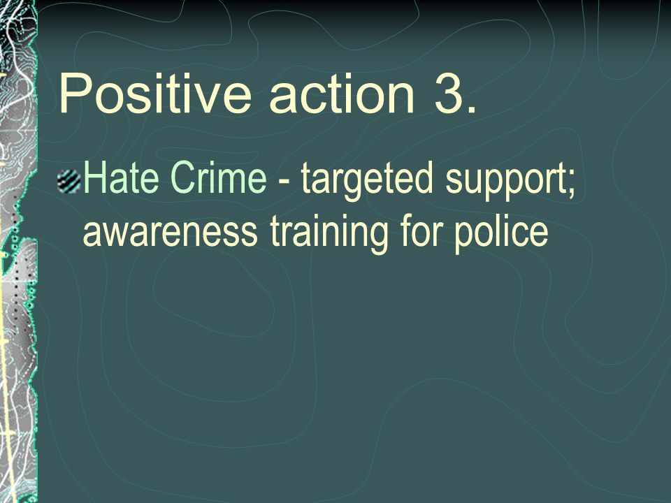 Positive action 3. Hate Crime - targeted support; awareness training for police