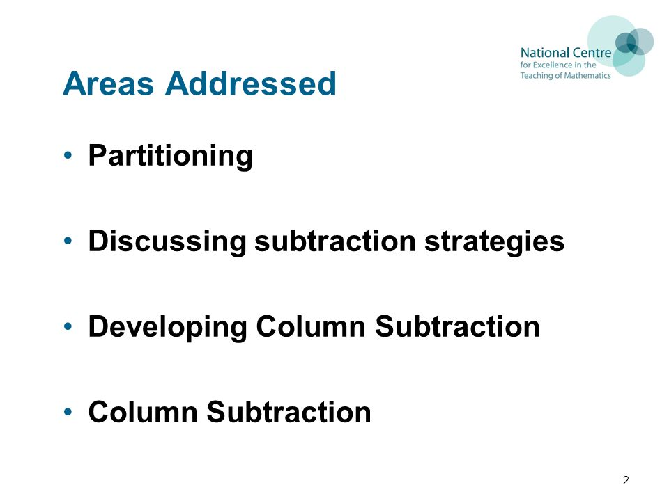 Areas Addressed Partitioning Discussing subtraction strategies Developing Column Subtraction Column Subtraction 2