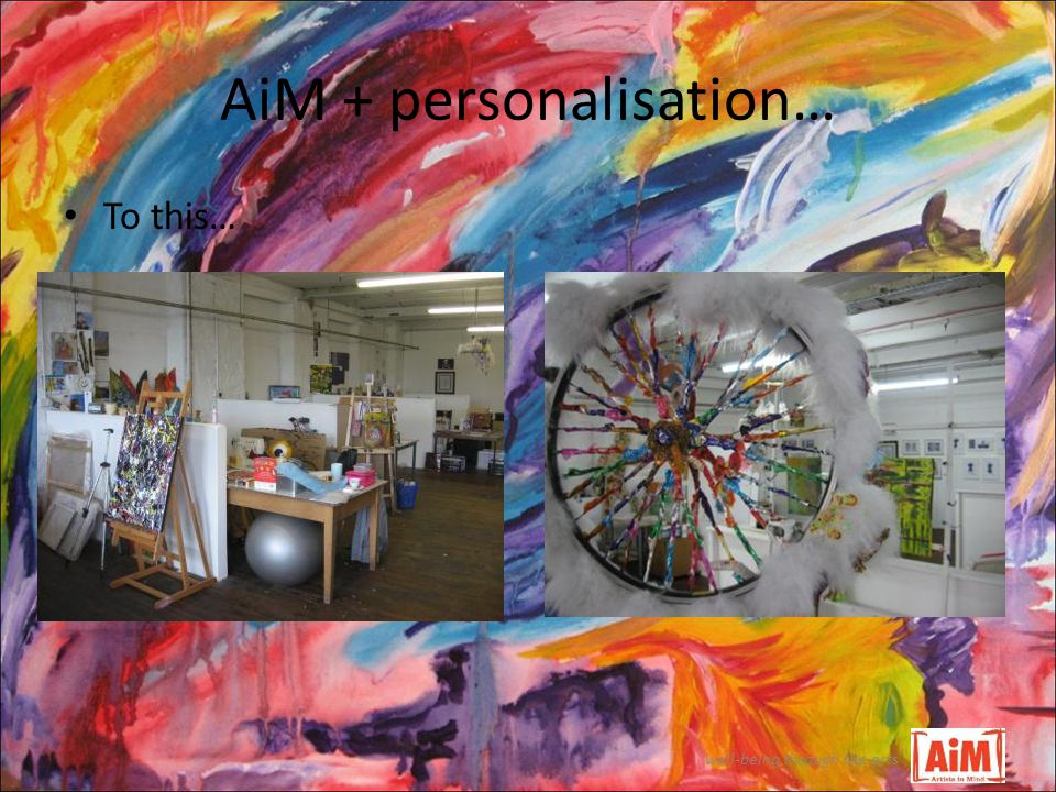 AiM + personalisation… well-being through the arts To this…