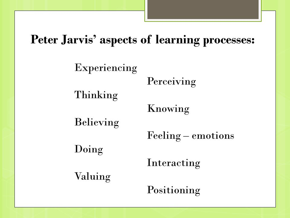 Peter Jarvis' aspects of learning processes: Experiencing Perceiving Thinking Knowing Believing Feeling – emotions Doing Interacting Valuing Positioning