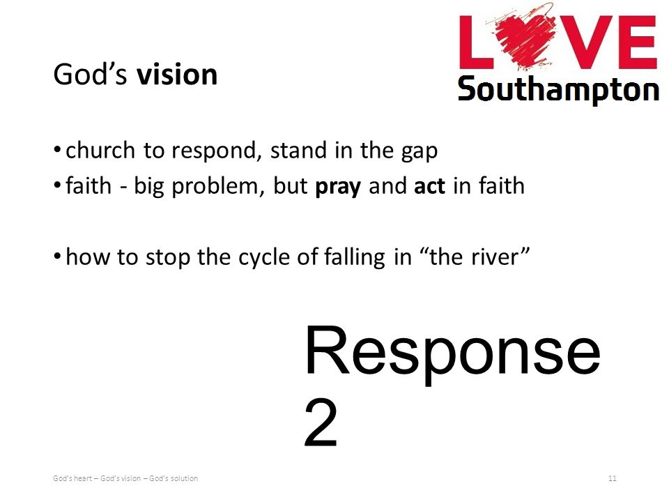 God's vision church to respond, stand in the gap faith - big problem, but pray and act in faith how to stop the cycle of falling in the river 11God's heart – God's vision – God's solution Response 2