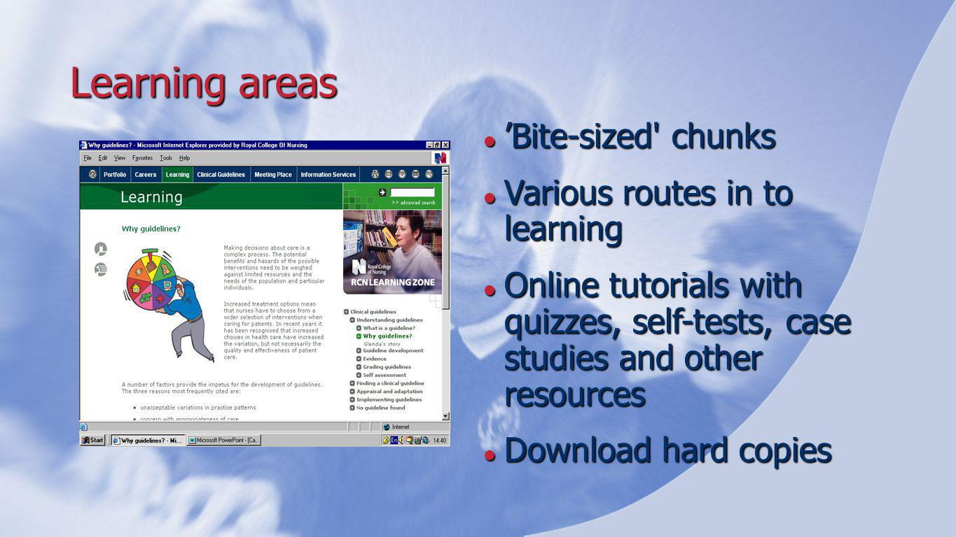 Learning areas 'Bite-sized chunks 'Bite-sized chunks Various routes in to learning Various routes in to learning Online tutorials with quizzes, self-tests, case studies and other resources Online tutorials with quizzes, self-tests, case studies and other resources Download hard copies Download hard copies