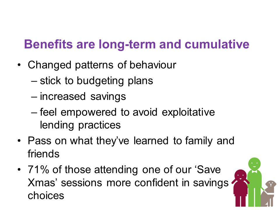 Benefits are long-term and cumulative Changed patterns of behaviour –stick to budgeting plans –increased savings –feel empowered to avoid exploitative lending practices Pass on what they've learned to family and friends 71% of those attending one of our 'Save Xmas' sessions more confident in savings choices