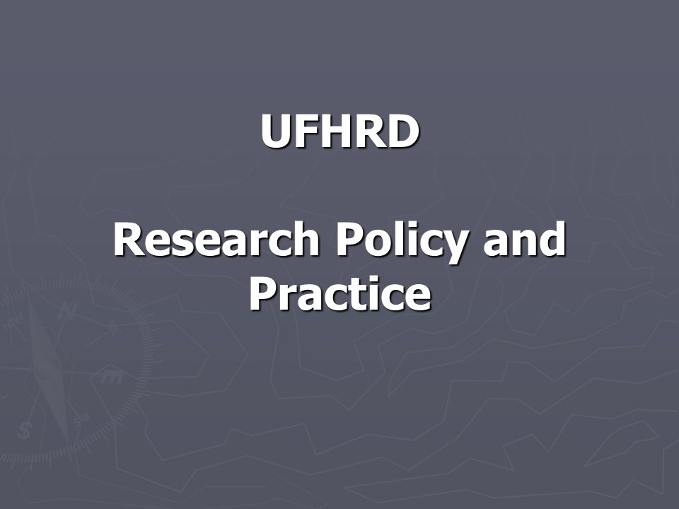 UFHRD Research Policy and Practice