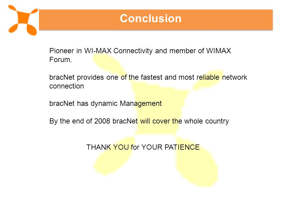 Conclusion Pioneer in WI-MAX Connectivity and member of WIMAX Forum.