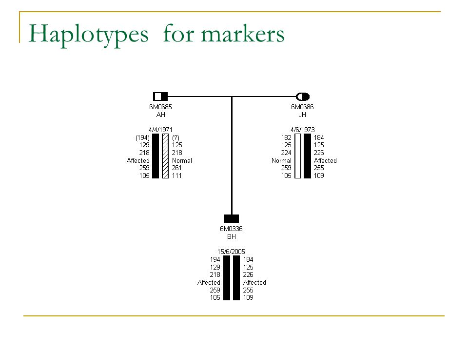 Haplotypes for markers