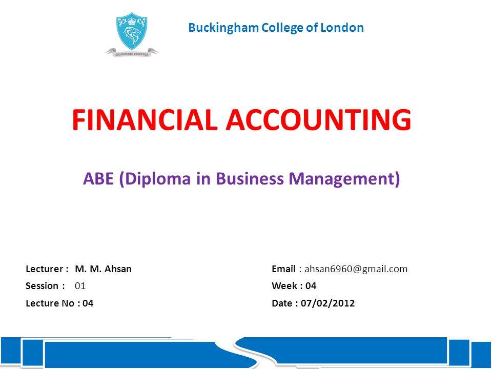 FINANCIAL ACCOUNTING ABE (Diploma in Business Management) Lecturer :M.