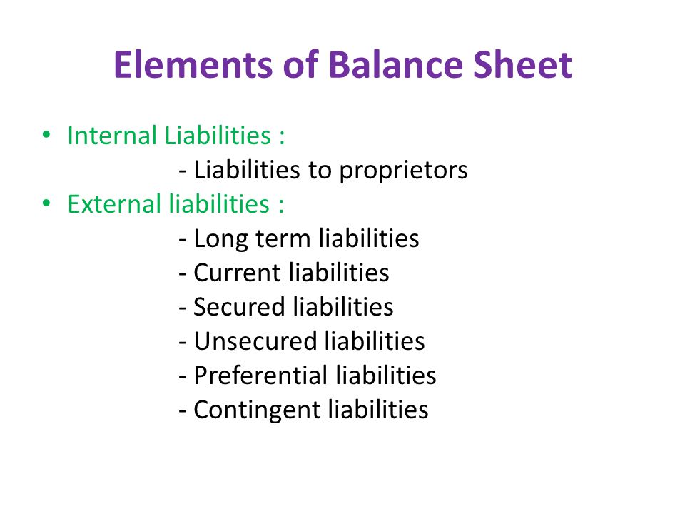 Elements of Balance Sheet Internal Liabilities : - Liabilities to proprietors External liabilities : - Long term liabilities - Current liabilities - Secured liabilities - Unsecured liabilities - Preferential liabilities - Contingent liabilities