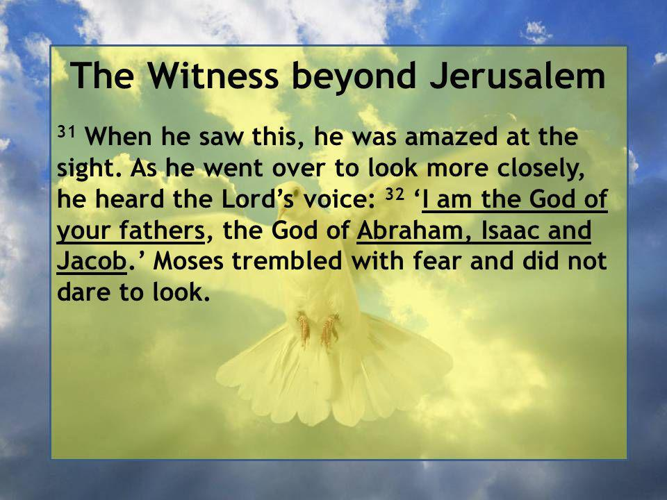 The Witness beyond Jerusalem 31 When he saw this, he was amazed at the sight.