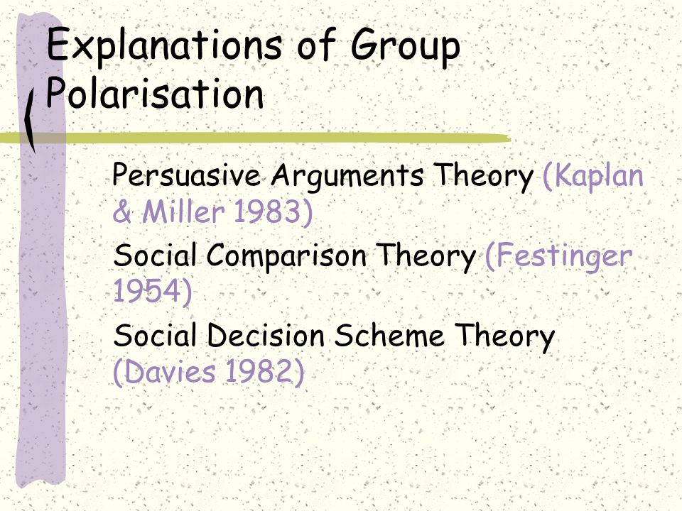 Explanations of Group Polarisation Persuasive Arguments Theory (Kaplan & Miller 1983) Social Comparison Theory (Festinger 1954) Social Decision Scheme Theory (Davies 1982)