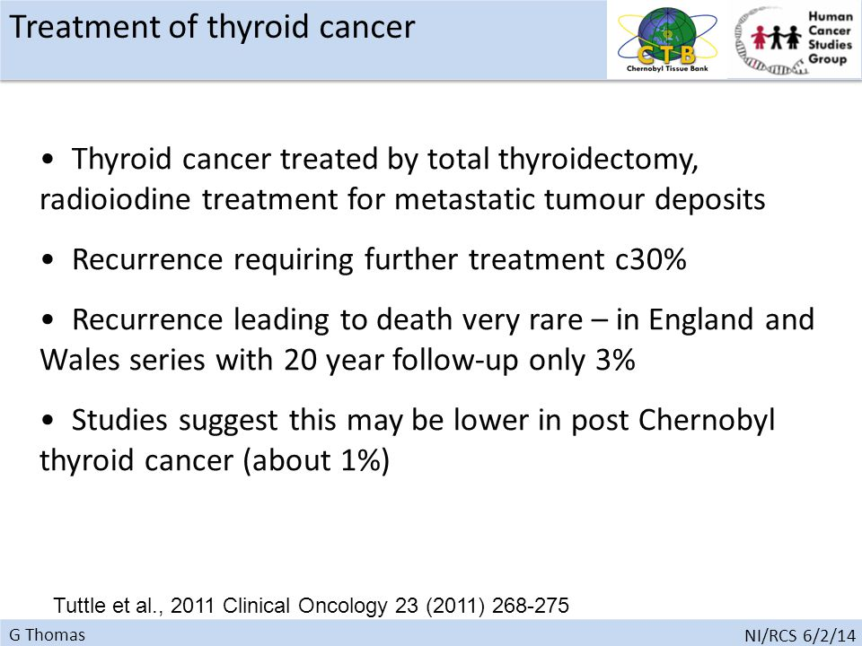 G Thomas NI/RCS 6/2/14 Thyroid cancer treated by total thyroidectomy, radioiodine treatment for metastatic tumour deposits Recurrence requiring further treatment c30% Recurrence leading to death very rare – in England and Wales series with 20 year follow-up only 3% Studies suggest this may be lower in post Chernobyl thyroid cancer (about 1%) Tuttle et al., 2011 Clinical Oncology 23 (2011) 268-275 Treatment of thyroid cancer