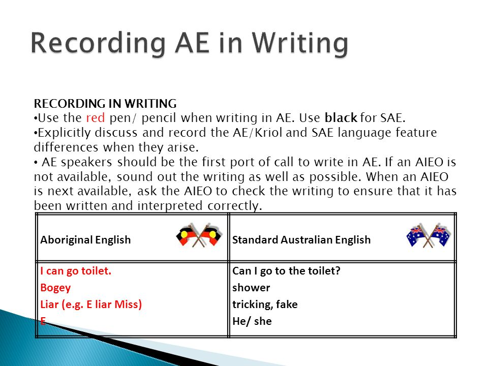 RECORDING IN WRITING Use the red pen/ pencil when writing in AE.