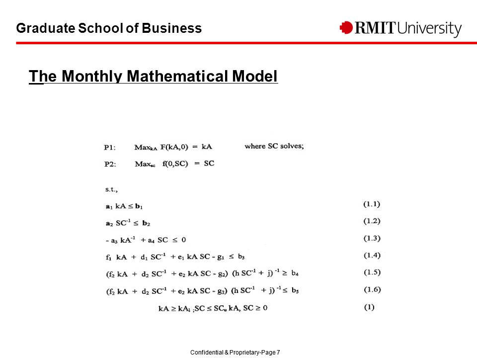 Confidential & Proprietary-Page 7 Graduate School of Business The Monthly Mathematical Model