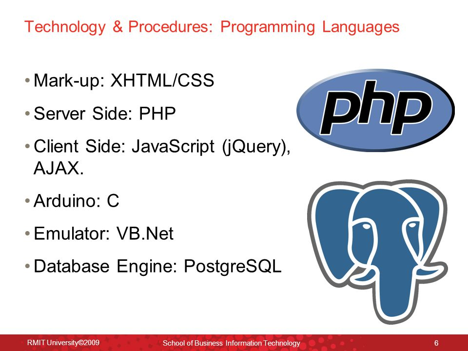 Technology & Procedures: Programming Languages Mark-up: XHTML/CSS Server Side: PHP Client Side: JavaScript (jQuery), AJAX.