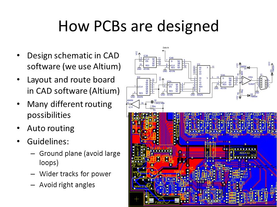 How PCBs are designed Design schematic in CAD software (we use Altium) Layout and route board in CAD software (Altium) Many different routing possibilities Auto routing Guidelines: – Ground plane (avoid large loops) – Wider tracks for power – Avoid right angles
