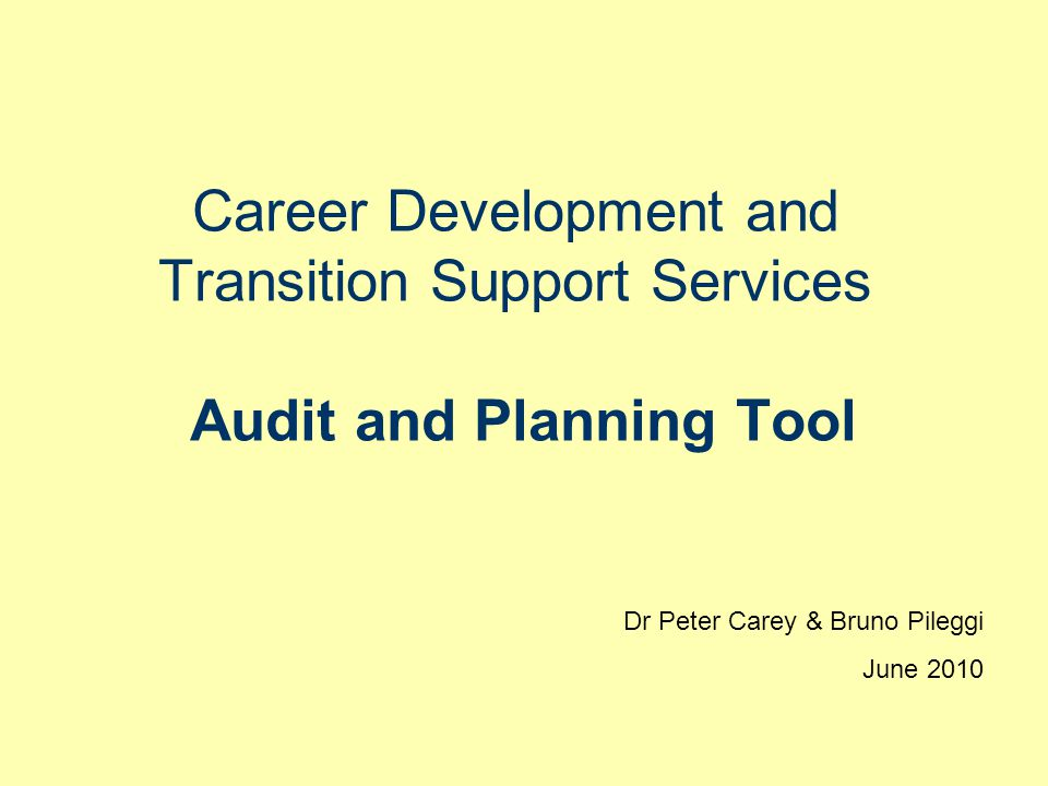 Career Development and Transition Support Services Audit and Planning Tool Dr Peter Carey & Bruno Pileggi June 2010