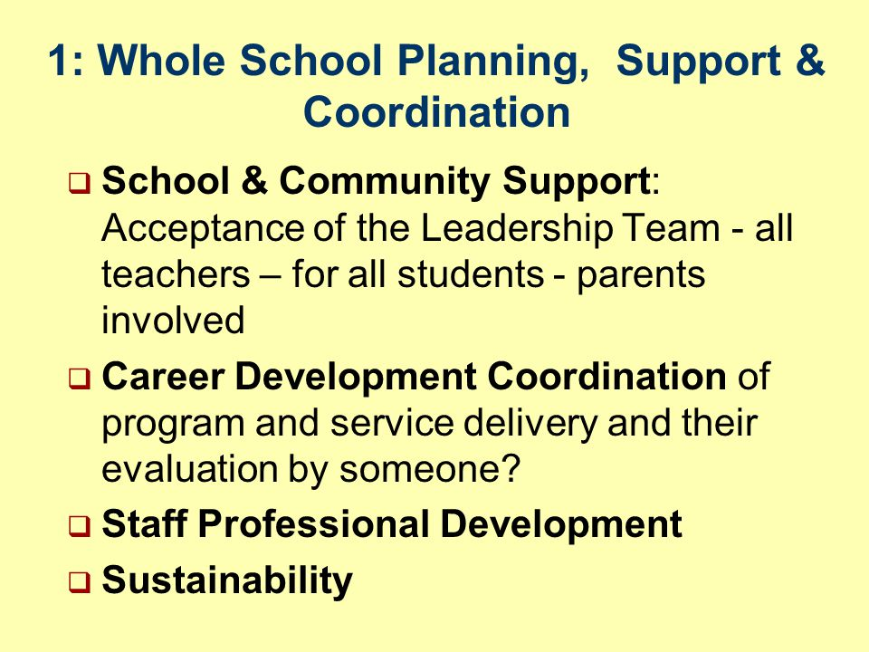 1: Whole School Planning, Support & Coordination  School & Community Support: Acceptance of the Leadership Team - all teachers – for all students - parents involved  Career Development Coordination of program and service delivery and their evaluation by someone.