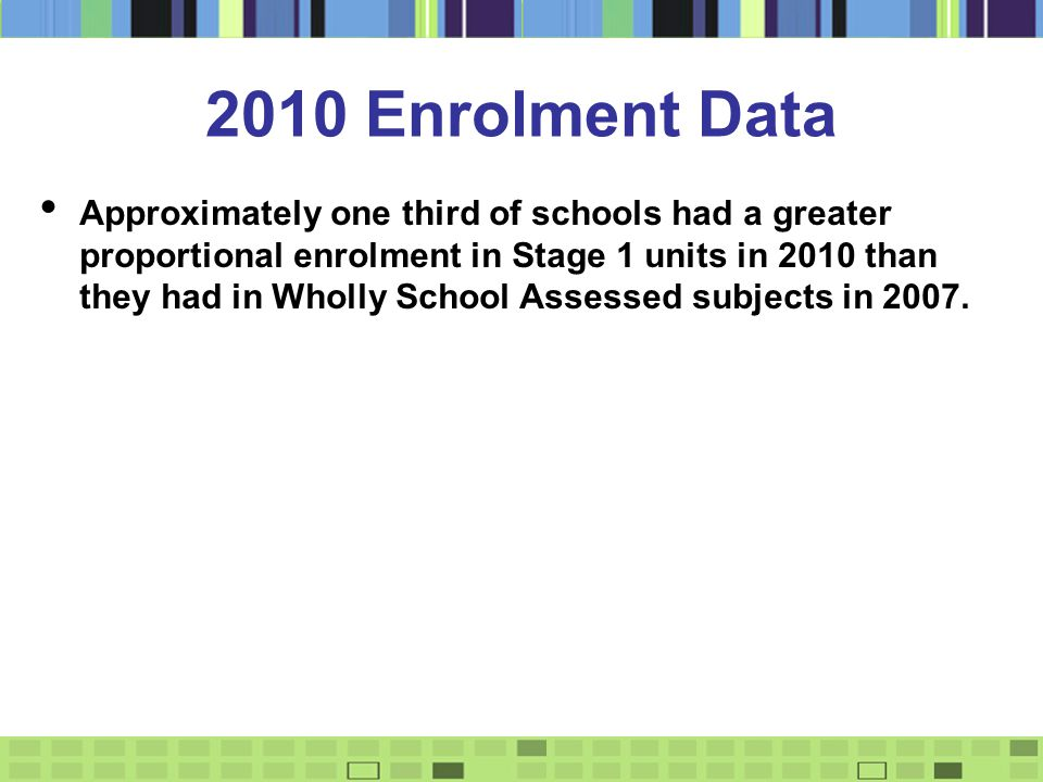 2010 Enrolment Data Approximately one third of schools had a greater proportional enrolment in Stage 1 units in 2010 than they had in Wholly School Assessed subjects in 2007.