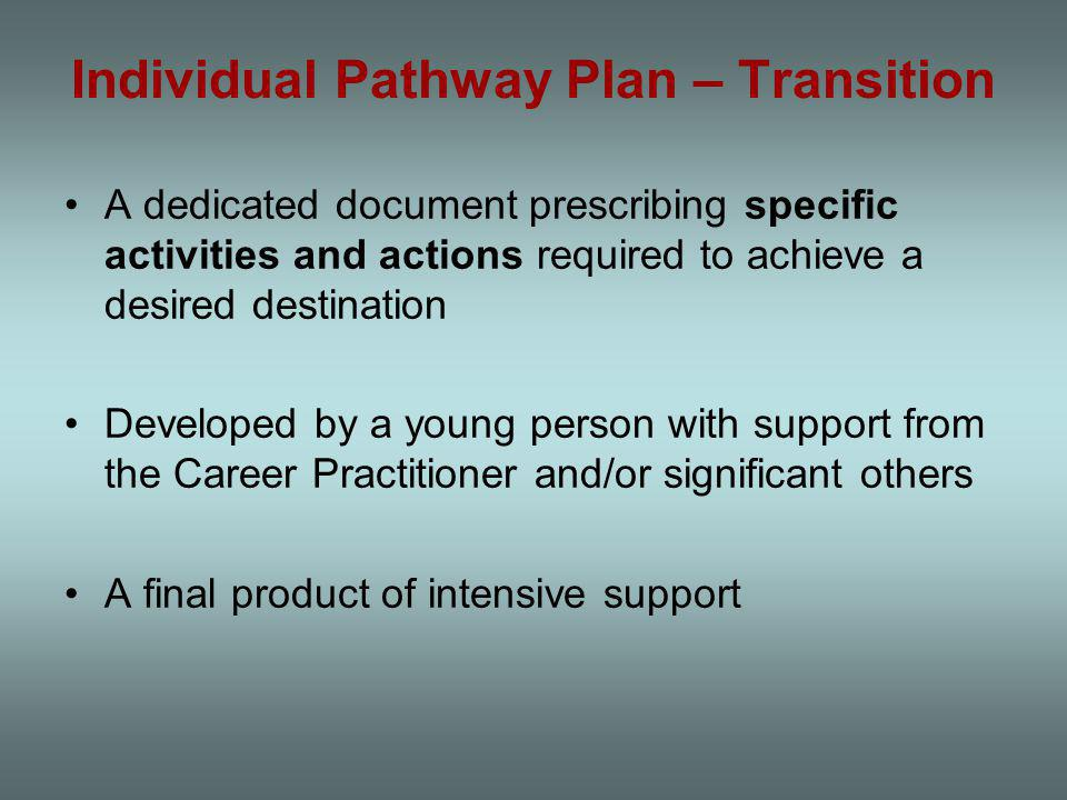 Individual Pathway Plan – Transition A dedicated document prescribing specific activities and actions required to achieve a desired destination Developed by a young person with support from the Career Practitioner and/or significant others A final product of intensive support