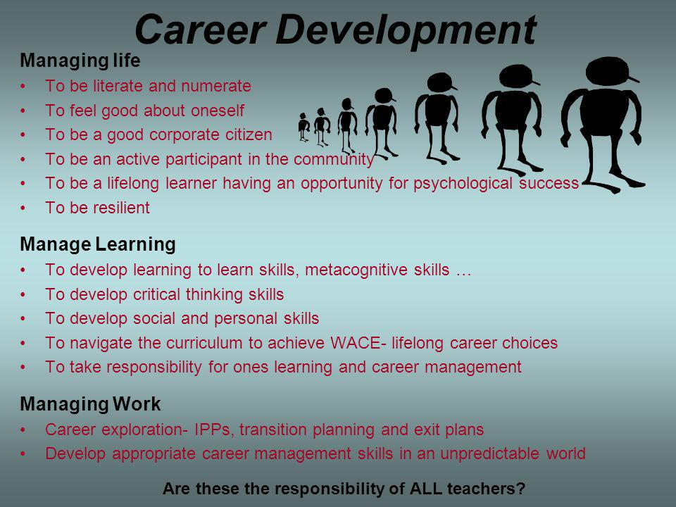 Career Development Managing life To be literate and numerate To feel good about oneself To be a good corporate citizen To be an active participant in the community To be a lifelong learner having an opportunity for psychological success To be resilient Manage Learning To develop learning to learn skills, metacognitive skills … To develop critical thinking skills To develop social and personal skills To navigate the curriculum to achieve WACE- lifelong career choices To take responsibility for ones learning and career management Managing Work Career exploration- IPPs, transition planning and exit plans Develop appropriate career management skills in an unpredictable world Are these the responsibility of ALL teachers
