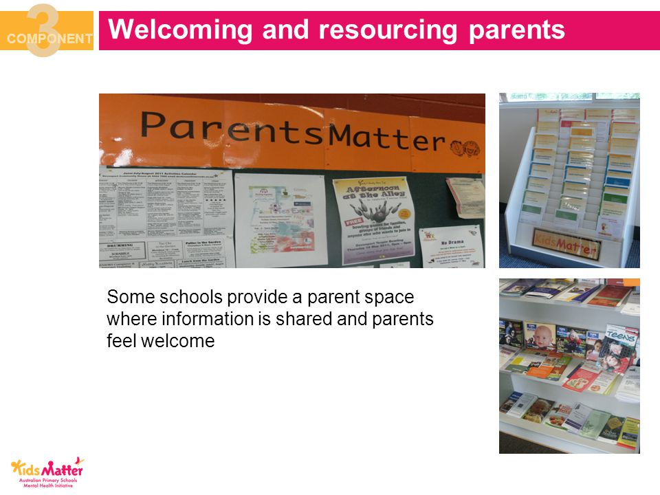 Welcoming and resourcing parents 3 COMPONENT Some schools provide a parent space where information is shared and parents feel welcome
