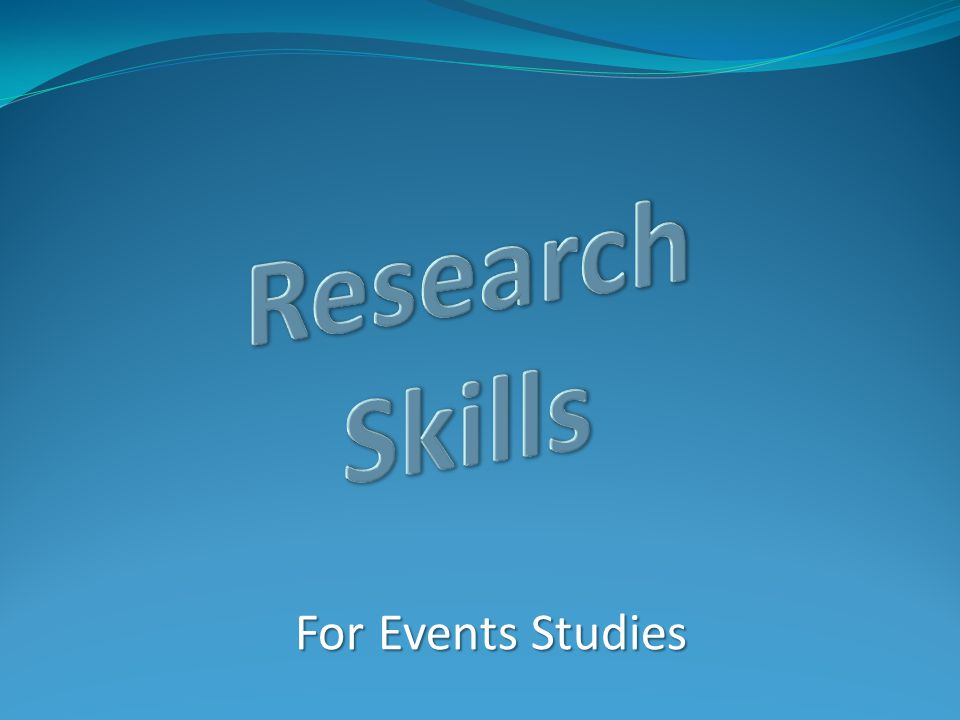 For Events Studies