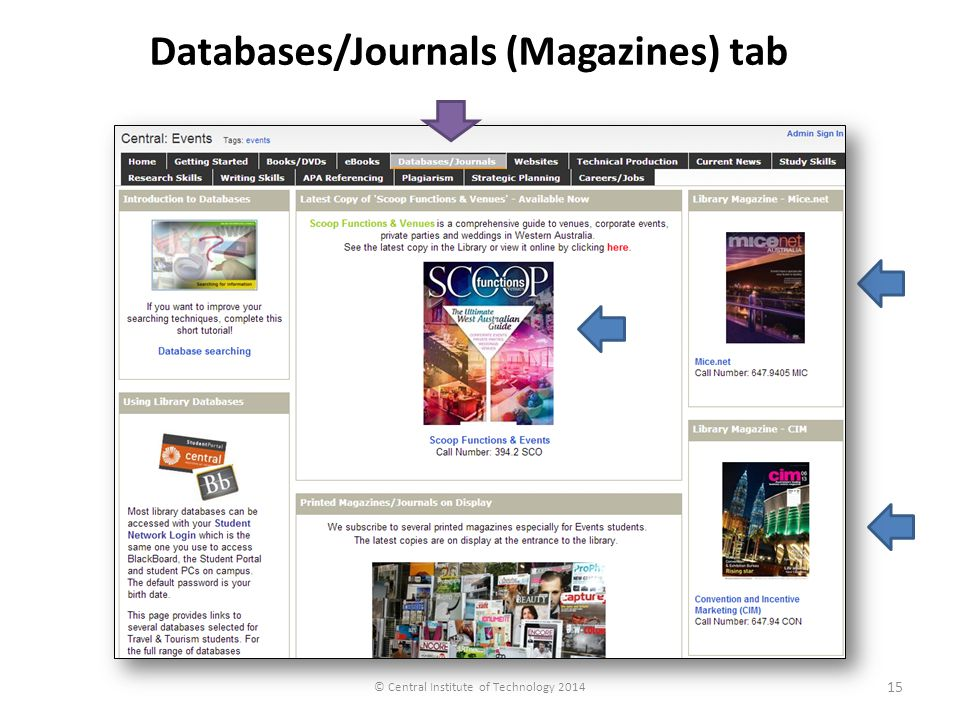 © Central Institute of Technology 2014 Databases/Journals (Magazines) tab 15