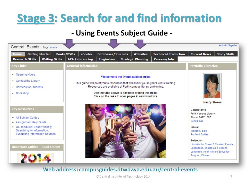 Web address: campusguides.dtwd.wa.edu.au/central-events Stage 3: Search for and find information © Central Institute of Technology Using Events Subject Guide - 7