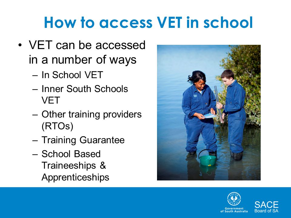 How to access VET in school VET can be accessed in a number of ways –In School VET –Inner South Schools VET –Other training providers (RTOs) –Training Guarantee –School Based Traineeships & Apprenticeships