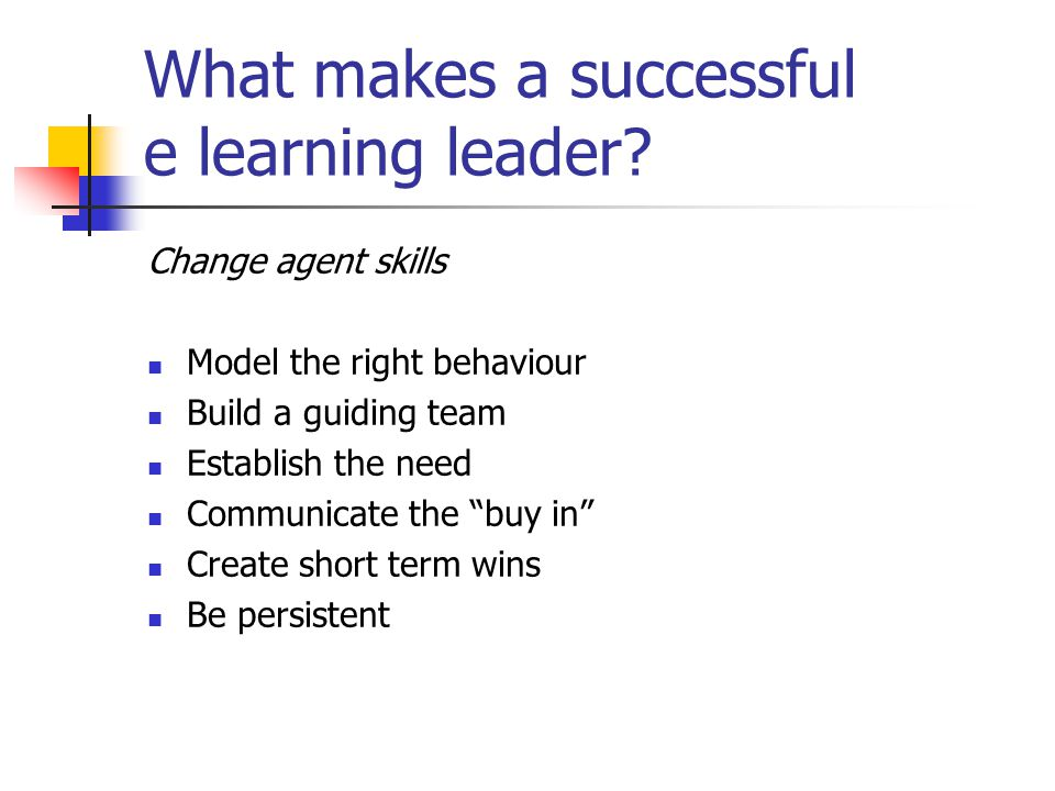 What makes a successful e learning leader.