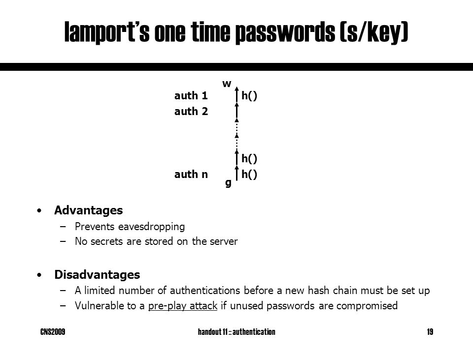 CNS2009handout 11 :: authentication19 lamport's one time passwords (s/key) Advantages –Prevents eavesdropping –No secrets are stored on the server Disadvantages –A limited number of authentications before a new hash chain must be set up –Vulnerable to a pre-play attack if unused passwords are compromised w g h() auth 1 auth 2 auth n