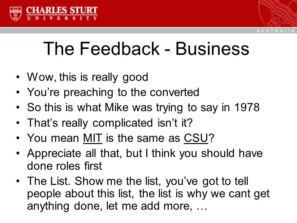 The Feedback - Business Wow, this is really good You're preaching to the converted So this is what Mike was trying to say in 1978 That's really complicated isn't it.