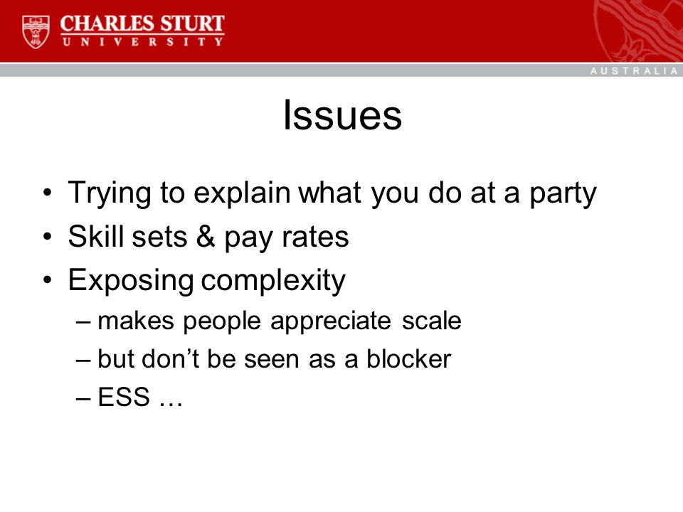 Issues Trying to explain what you do at a party Skill sets & pay rates Exposing complexity –makes people appreciate scale –but don't be seen as a blocker –ESS …