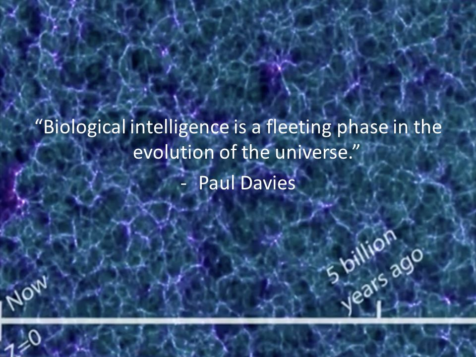 Biological intelligence is a fleeting phase in the evolution of the universe. -Paul Davies