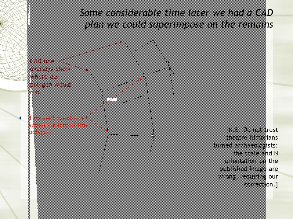 Some considerable time later we had a CAD plan we could superimpose on the remains  Two wall junctions suggest a bay of the polygon.