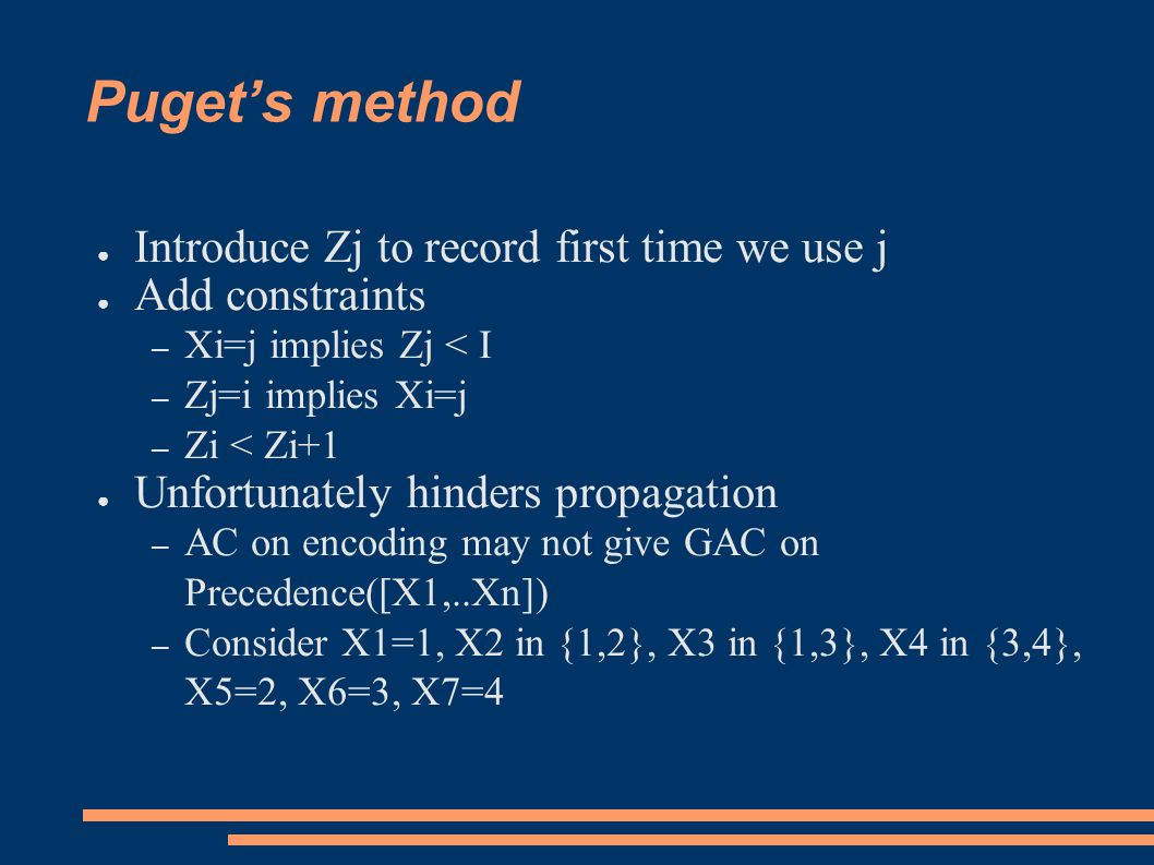 Puget's method ● Introduce Zj to record first time we use j ● Add constraints – Xi=j implies Zj < I – Zj=i implies Xi=j – Zi < Zi+1 ● Unfortunately hinders propagation – AC on encoding may not give GAC on Precedence([X1,..Xn]) – Consider X1=1, X2 in {1,2}, X3 in {1,3}, X4 in {3,4}, X5=2, X6=3, X7=4