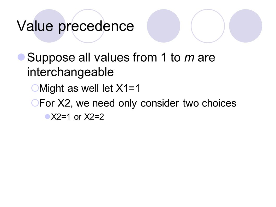Value precedence Suppose all values from 1 to m are interchangeable  Might as well let X1=1  For X2, we need only consider two choices X2=1 or X2=2