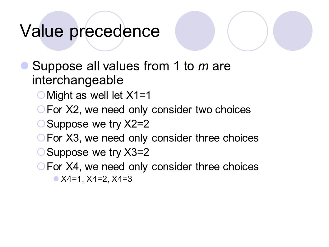 Value precedence Suppose all values from 1 to m are interchangeable  Might as well let X1=1  For X2, we need only consider two choices  Suppose we try X2=2  For X3, we need only consider three choices  Suppose we try X3=2  For X4, we need only consider three choices X4=1, X4=2, X4=3