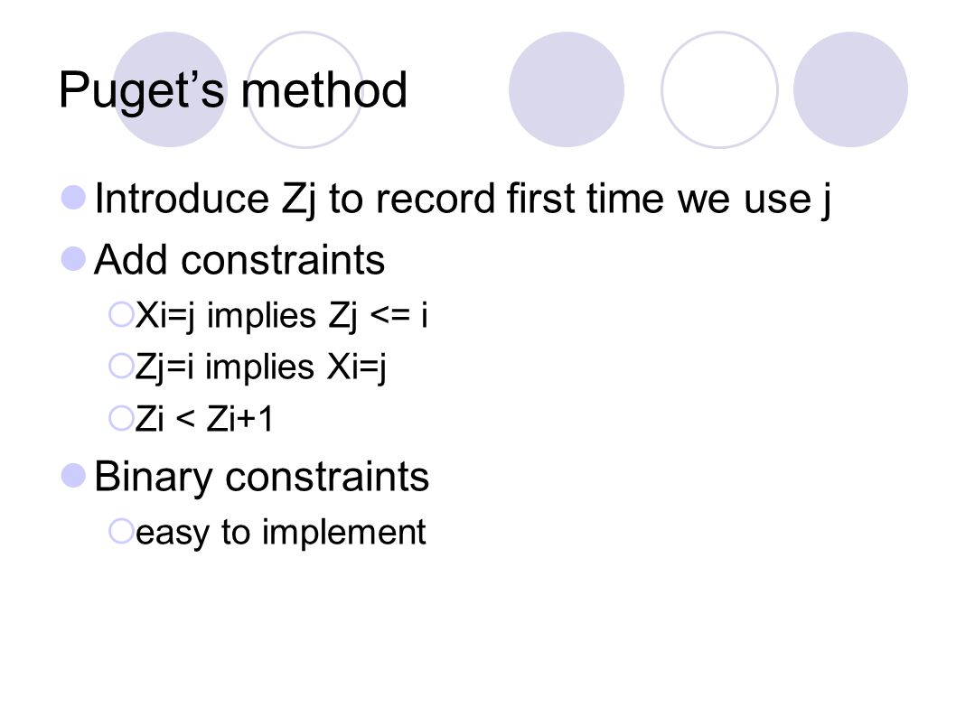 Puget's method Introduce Zj to record first time we use j Add constraints  Xi=j implies Zj <= i  Zj=i implies Xi=j  Zi < Zi+1 Binary constraints  easy to implement