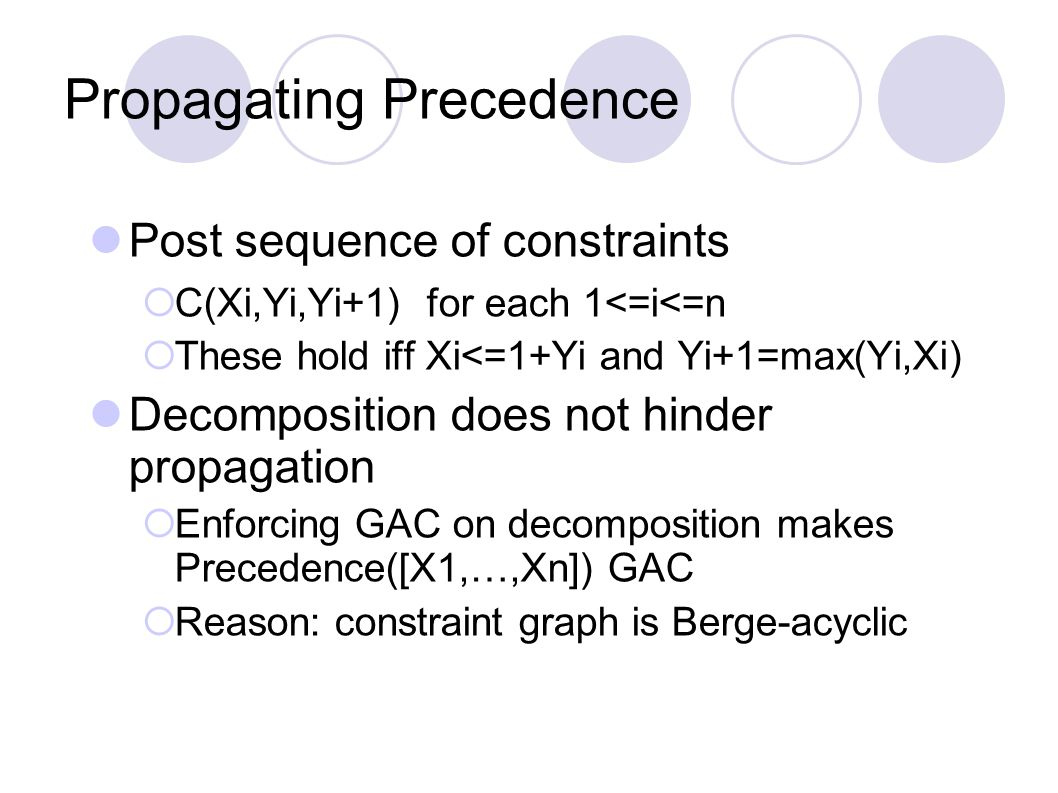 Propagating Precedence Post sequence of constraints  C(Xi,Yi,Yi+1) for each 1<=i<=n  These hold iff Xi<=1+Yi and Yi+1=max(Yi,Xi) Decomposition does not hinder propagation  Enforcing GAC on decomposition makes Precedence([X1,…,Xn]) GAC  Reason: constraint graph is Berge-acyclic
